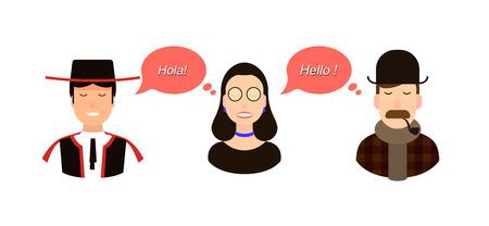 International communication translation concept illustration. tourists or businessmen or politicians from Spain or spanish speaking and England communicate through a girl translator. Illustration