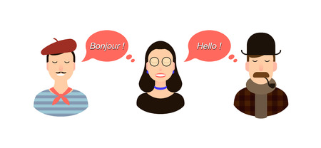 International communication translation concept illustration. tourists or businessmen or politicians from France or French speaking countries and England communicate through a girl translator.
