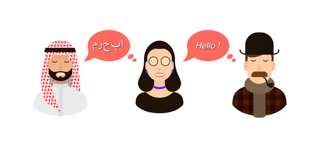 International communication translation concept illustration. tourists or businessmen or politicians from arab speaking country and England communicate through a girl translator