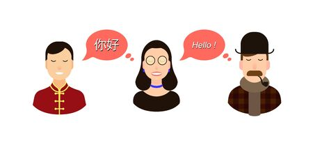 Modern design for foreign language course, classes, school International communication - translation concept illustration. tourists or businessmen or politicians from Chinese and England communicate through a translator or translation agency