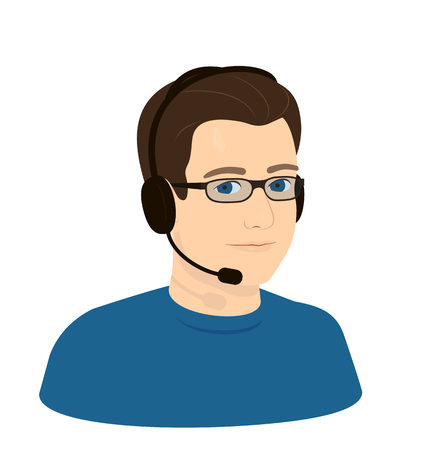 call center operator boy man with glasses and headphones with microphone - realistic face, portrait
