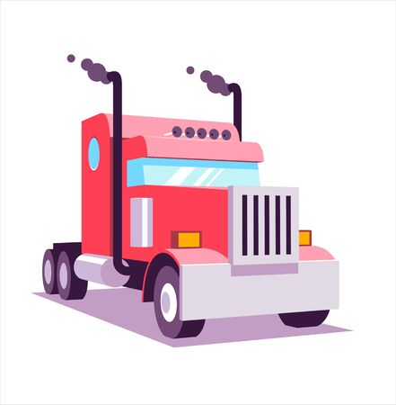 Red heavy american truck. 3D lowpoly vector illustration, flat cartoon