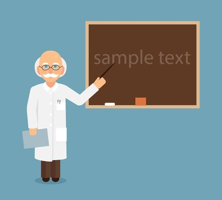 Professor, scientist or doctor shows by a pointer to a chalkboard text.