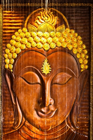 buddha face: Buddism is religion of all people worship or respect for Buddhist. Stock Photo