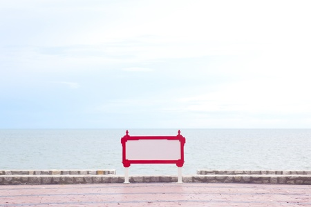 Single blank label with sea view photo