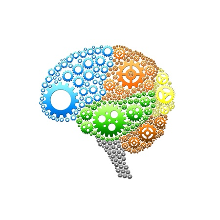 concentration gear: Brain gear with text on color background design