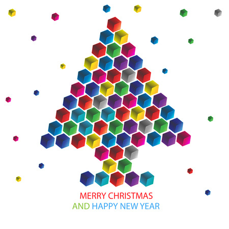 Polygon Christmas tree background Design  Vector