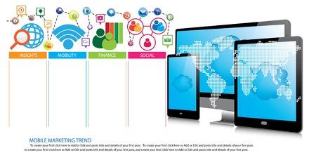 trend: Mobile marketing trend design Illustration