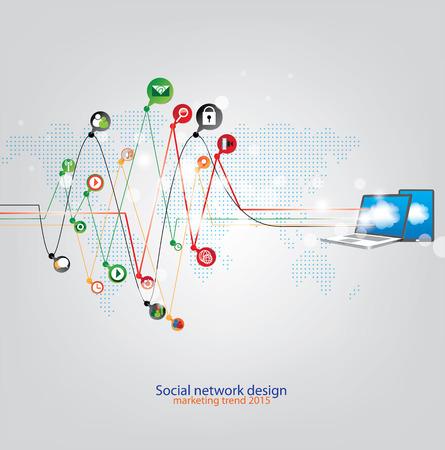 online business: Social marketing trend design Illustration