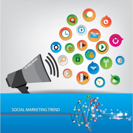 Social marketing trend design Ilustracja