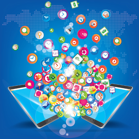 Social network marketing trend design Ilustracja