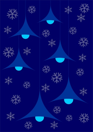 Christmas and winter background with lamp and snowflakes  photo