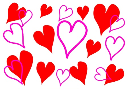 Hearts for Valentine background and card