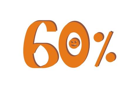 sixty: Sixty percent Stock Photo