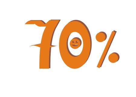 seventy: Seventy percent Stock Photo