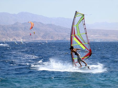 eilat: Surfing on the Red sea, Eilat Stock Photo