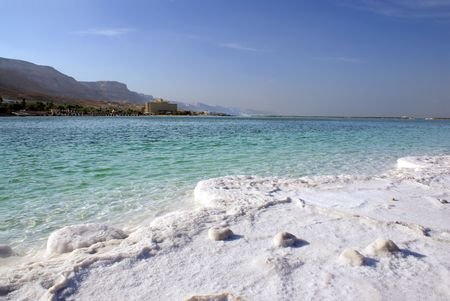 crystallization: Dead Sea and coastline with hotels                       Stock Photo