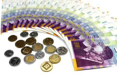 Denominations and coins of different face value in shekels photo