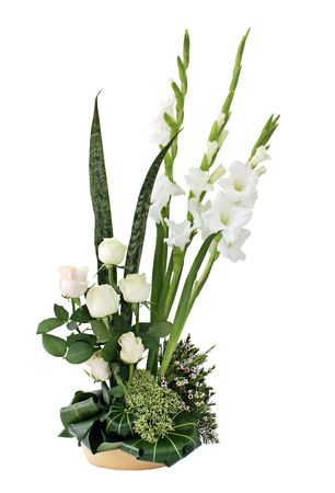 Regeling van een bloem in een lage vaas Stockfoto
