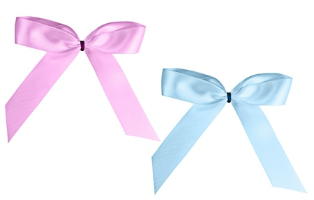 pink and blue satin ribbons on a white background Stock Photo - 8900112