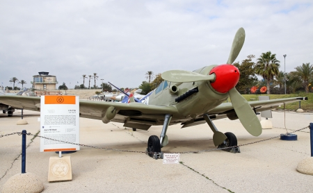 avia: MUSEUM OF THE AIR FORCE IDF. HATZERIM - February 02: Avia S-199 is a Czech version of the German Messerchmitt (BF-109G)February 02, 2012 in Hatzerim, Israel