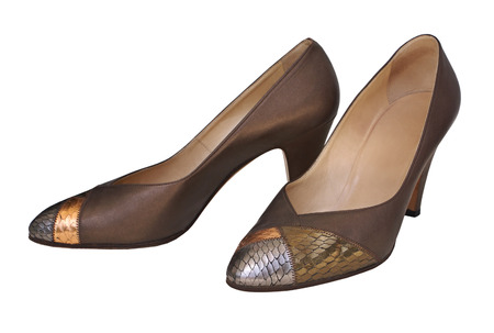 inserts: Elegant female shoes with heels with snakeskin inserts