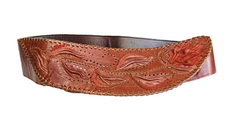suede belt: handmade women leather belt with ornament Stock Photo