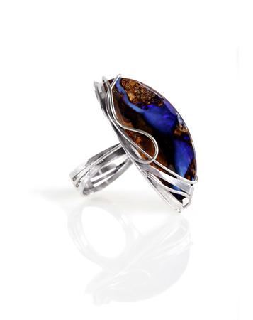 cabochon: Womens jewelry silver ring with opal