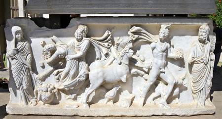 3rd century: Abduction of  Persephone by Hades. Bas-relief on the sarcophagus of the 3rd century BC Archeological Museum in Ashkelon Stock Photo