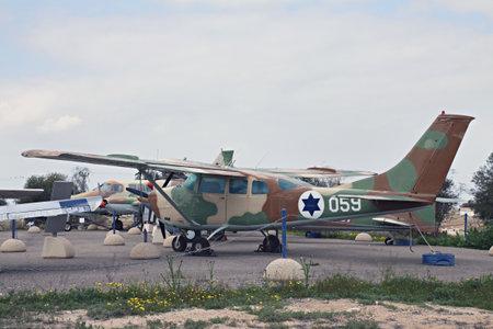 cessna: HATZERIM, ISRAEL - FEBRUARY 02, 2012: Cessna U-206 Super Skyvagon - American light aircraft at the museum of the Air Force IDF