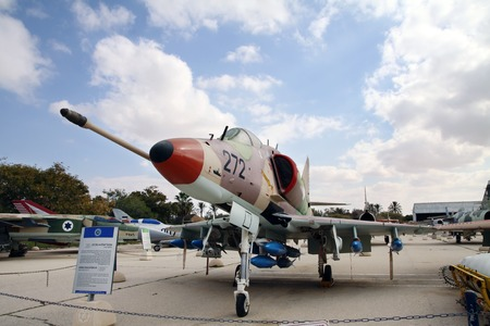 united states air force: HATZERIM, ISRAEL - FEBRUARY 02, 2012: Douglas Skyhawk A-4H - single seat carrier-capable attack aircraft developed for the United States Navy  at the museum of the Air Force IDF Editorial