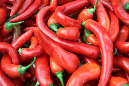 market stall: Pods of red pepper on a market stall