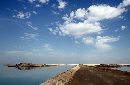 dikes: Building dikes on the Dead Sea in the area of factories