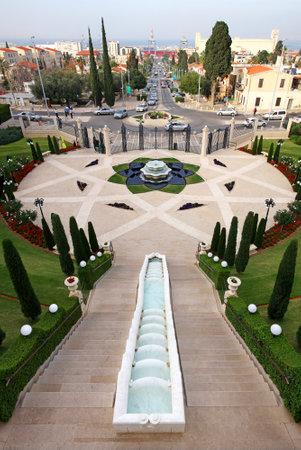 tier: HAIFA, ISRAEL - MARCH 09, 2015: Fountain on the lower tier of the Bahai Gardens in Haifa, Israel Editorial