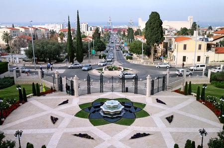 bahai: HAIFA, ISRAEL - MARCH 09, 2015: Lower tier of the Bahai Gardens in Haifa, Israel