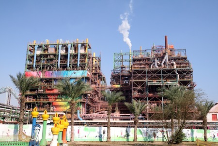 potassium: DEAD SEA, ISRAEL - DECEMBER 16, 2014: Chemical Plant for production of potassium Editorial