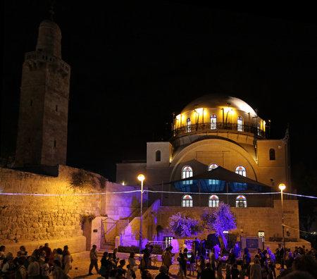 hurva: JERUSALEM, ISRAEL - JUNE 18, 2014: Hurva synagogue at the Festival Light of Jerusalem Editorial