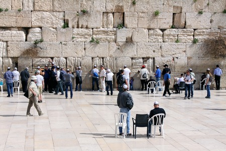 jews: JERUSALEM, ISRAEL - FEBRUARY 21, 2014: The holiest site for Jews -  Western wall of the destroyed Temple in the Old City, Jerusalem