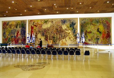chagall: JERUSALEM, ISRAEL - JULY 06, 2014: Gobelins by Marc Chagall in the foyer of the Knesset in Jerusalem