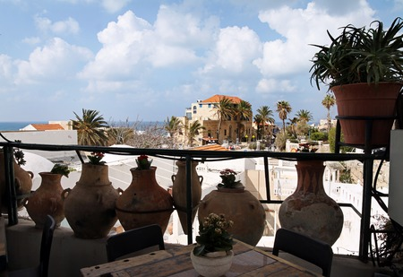 jaffa: View of the ancient city of Jaffa through clay amphora Stock Photo