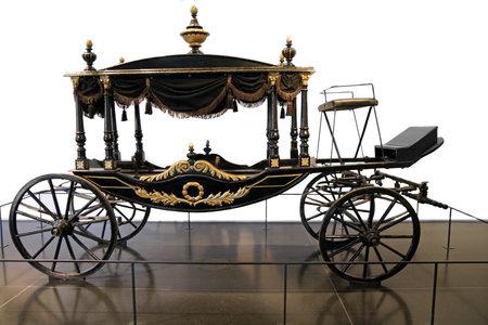 israel museum: JERUSALEM, ISRAEL - DECEMBER, 14, 2014: Horse carriage funeral XIX century. Israel Museum Editorial