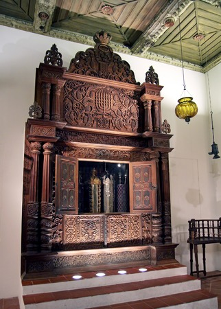 torah: JERUSALEM, ISRAEL - DECEMBER, 14, 2014: Synagogue from the province of Cochin (India). Storage Cabinet Torah,  Israel Museum