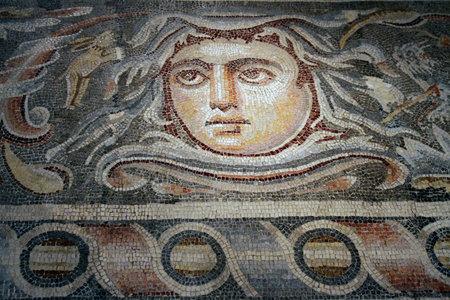 3rd century: JERUSALEM, ISRAEL - DECEMBER, 14, 2014:  Detail of the mosaic floor of a Roman villa of the 3rd century BC in Hebron, Israel Museum