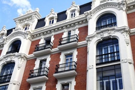 gran via: Front of the house in Baroque style in the Gran Via in Madrid Stock Photo
