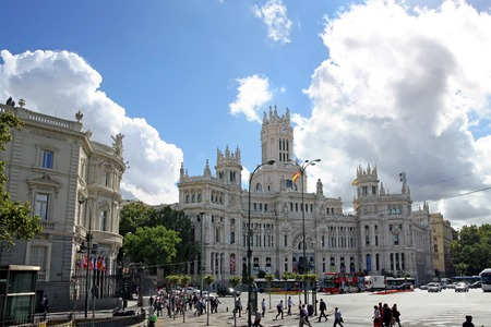 cibeles: MADRID, SPAIN - OCTOBER 04, 2013: Building of the post office and the Municipality on the Plaza Cibeles Editorial