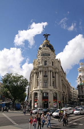 moldings: MADRID, SPAIN - OCTOBER 04, 2013: The facade of a historic building on the Gran Via in Madrid Editorial
