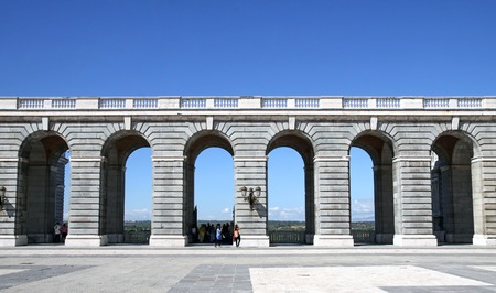 classicism: MADRID, SPAIN - OCTOBER 05, 2013: Colonnade of the Royal Palace in Madrid. The architectural style of Classicism Editorial