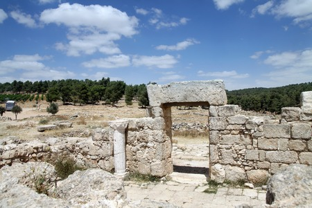 1st century: ruins of the synagogue of the 1st century AD, the settlement Anim, Israel