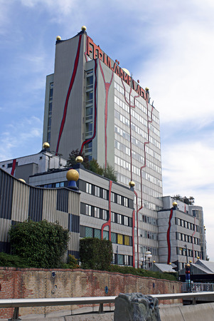 incinerator: VIENNA, AUSTRIA  -  SEPTEMBER 23, 2007: The administrative building of the incinerator Shpitelau in Vienna. The architect Hundertwasser