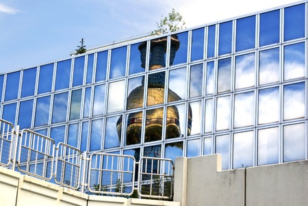 incinerator: VIENNA, AUSTRIA  -  SEPTEMBER 23, 2007: Reflection pipe Shpitelau incinerator in Vienna. The architect Hundertwasser Editorial